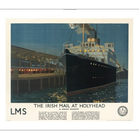"NORMAN WILKINSON ""Irish Mail at Holyhead"" advert CANVAS various SIZES, BRAND NEW"