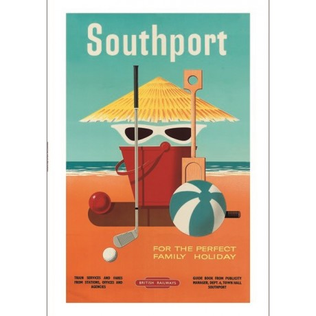 Southport beach holiday tourism advert ON CANVAS choose SIZE, from 55cm up, NEW