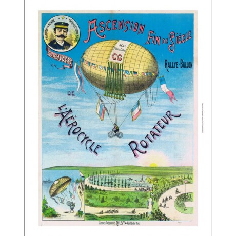 L'Aerocycle Rotateur hot air balloon GIANT CANVAS! choose SIZE, from 55cm up