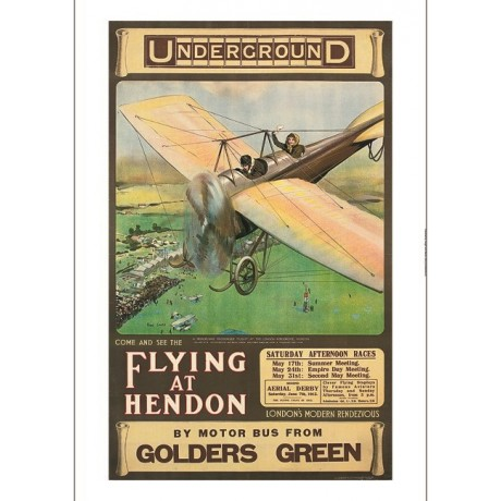 "CYRUS CUNEO ""Flying at Hendon"" airplane races CANVAS various SIZES available"