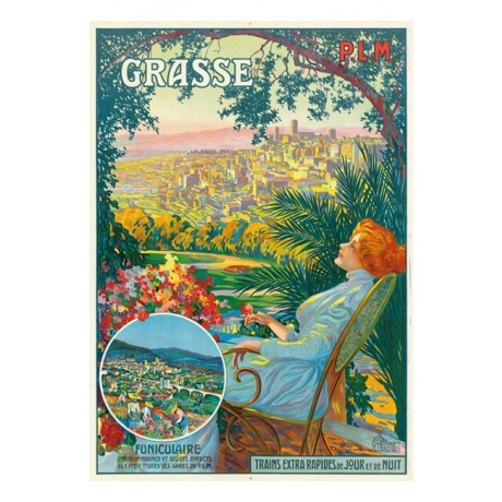 "DAVID DELLEPIANE ""Grasse"" woman train advert CANVAS various SIZES available, NEW"