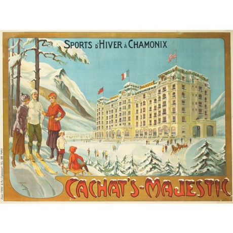 "CANDIDO FARIA ""Sports d'Hiver a Chamonix"" hotel CANVAS various SIZES, BRAND NEW"