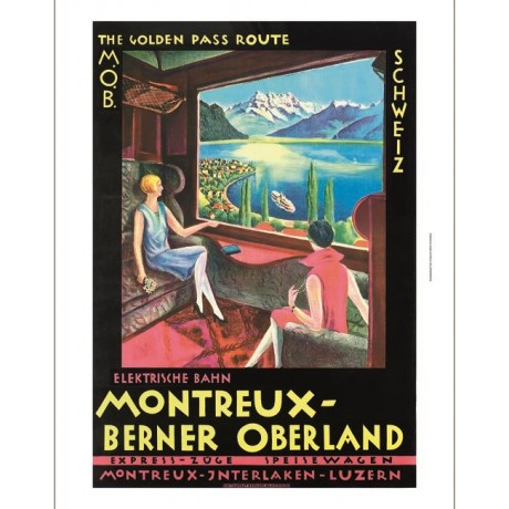 Montreux-Berner Oberland Golden Pass Route RAILWAY ad various SIZES, BRAND NEW