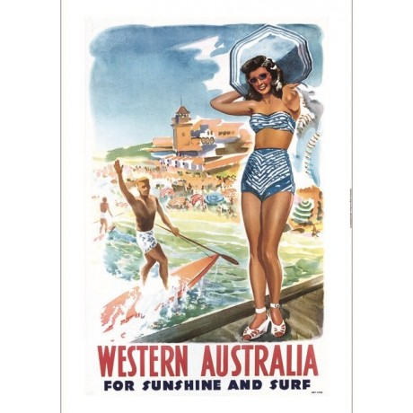 Western Australia tourism advert beach surf CANVAS choose SIZE, from 55cm up