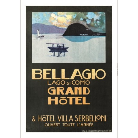 Bellagio Grand Hotel Lago di Como TOURISM advert choose SIZE, from 55cm up, NEW