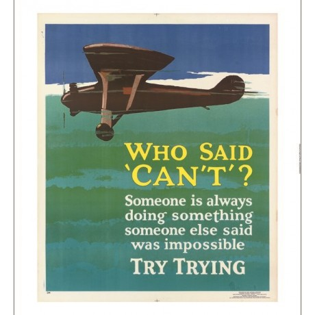 Who Said Can't? motivational poster plane CANVAS choose SIZE, from 55cm up, NEW