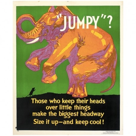 Jumpy? motivational poster elephant mouse CANVAS choose SIZE, from 55cm up, NEW
