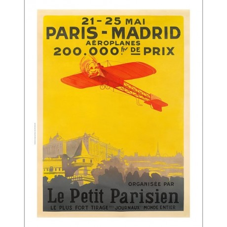 Paris-Madrid, Le Petit Parisien aircraft SUPER CANVAS print of vintage poster