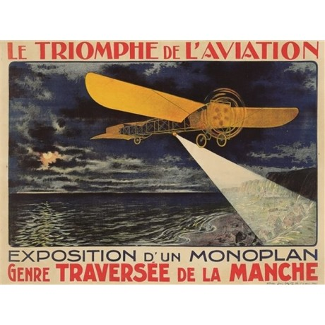 Le Triomphe de L'Aviation plane sea NEW CANVAS print of vintage poster BRAND NEW