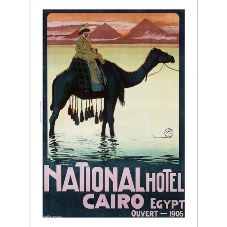 "BORGONI ""Hotel Cairo Egypt"" camel pyramids CANVAS print of vintage poster giclee"