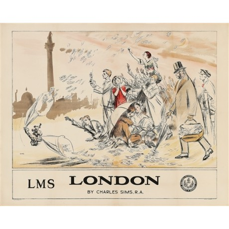 "SIMS ""London"" money column dome people CANVAS PRINT of vintage poster BRAND NEW"