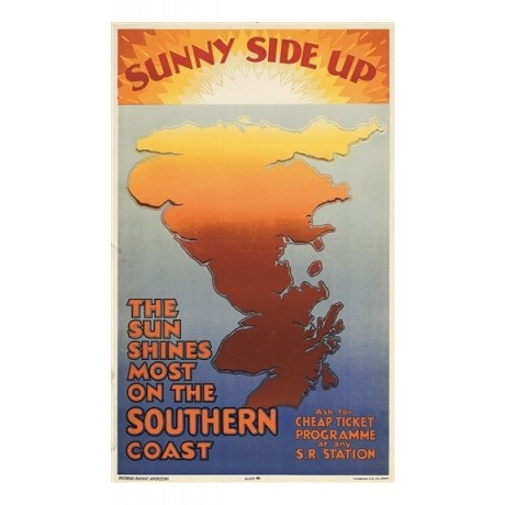 Sunny Side Up british railway travel holiday CANVAS PRINT of vintage poster