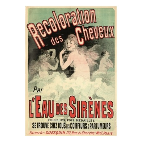 CHERET L' Eau de Sir?n?s mermaids hair CANVAS PRINT of vintage poster BRAND NEW
