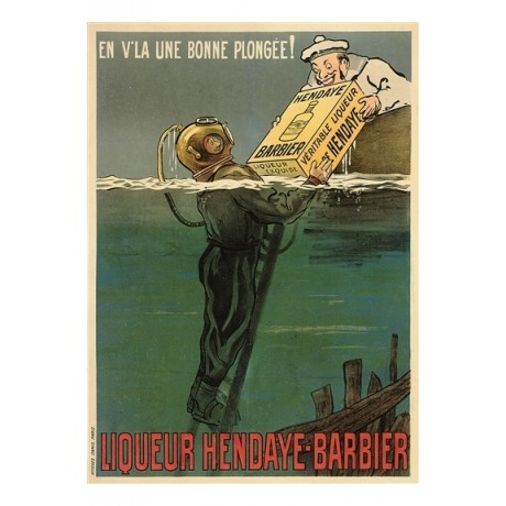 Licqueur Hendaye-Barbier sailor diver SUPERB CANVAS print of vintage poster