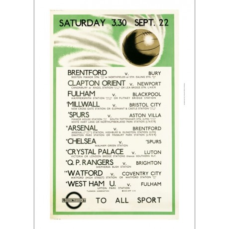 London Transport to All Sport football fixture CANVAS PRINT of vintage poster