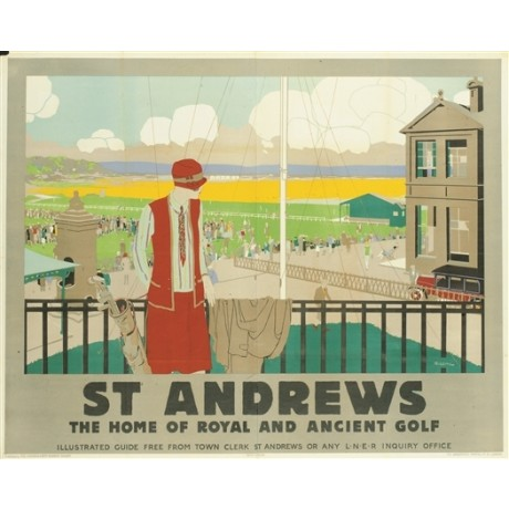 "CANVAS vintage poster ""St Andrews, LNER"" golf club course railway woman HIGGINS"