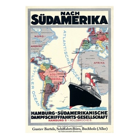 Nach Sudamerika ocean liner travel advert german choose SIZE, from 55cm up, NEW