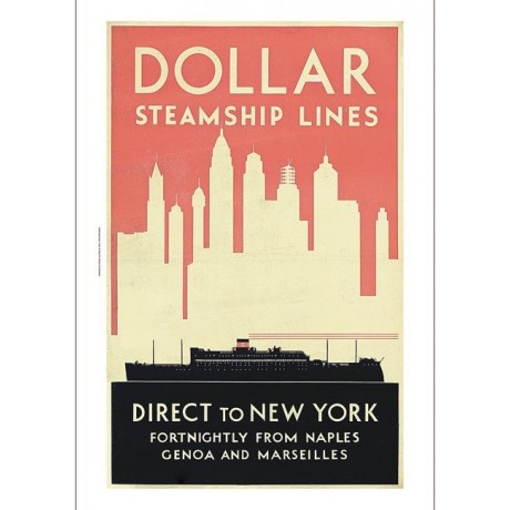 Dollar Steamship Lines to New York ship skyline choose SIZE, from 55cm up, NEW