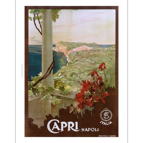 "MARIO BORGONI ""Capri, Napoli"" italy balcony CANVAS choose SIZE, from 55cm up"
