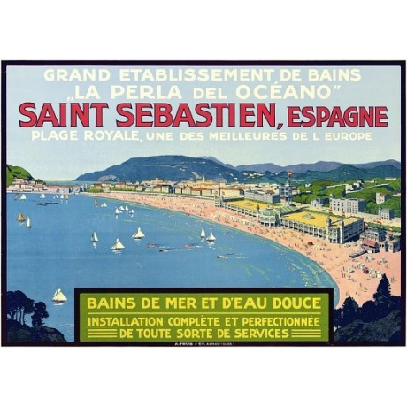 Saint Sebastien, Espagne spain beach scene CANVAS choose SIZE, from 55cm up, NEW