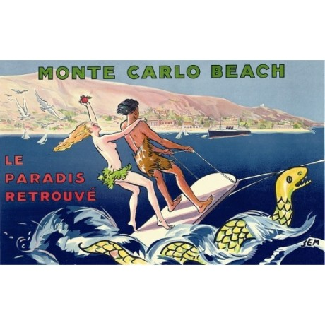 "GEORGES GOURSAT ""Monte Carlo Beach"" water skiing CANVAS various SIZES, BRAND NEW"