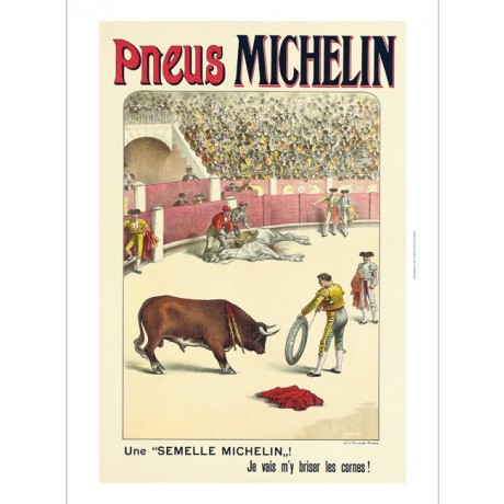 Pneus Michelin bull fighting tyres advert CANVAS choose SIZE, from 55cm up, NEW