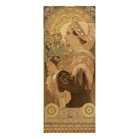 "ALPHONSE MARIE MUCHA ""Sea Holly"" woman floral design various SIZES available"