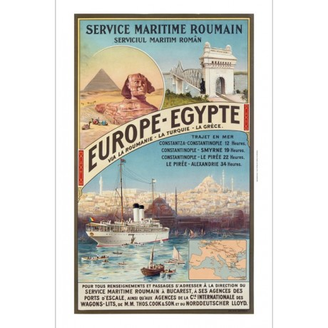Europe - EGYPTE pyramids egypt ship NEW CANVAS print of vintage travel poster