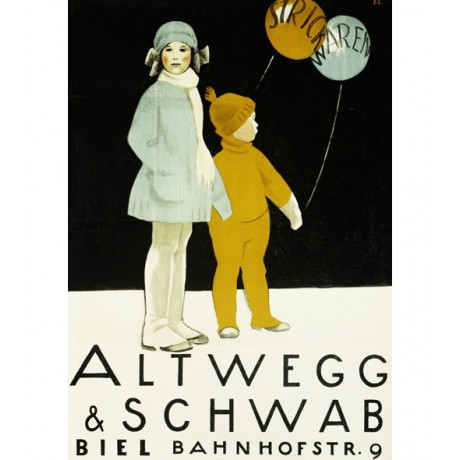 "CANVAS PRINT of STYLISH VINTAGE POSTER ""Altwegg & Schwab"" children CARDINAUX"