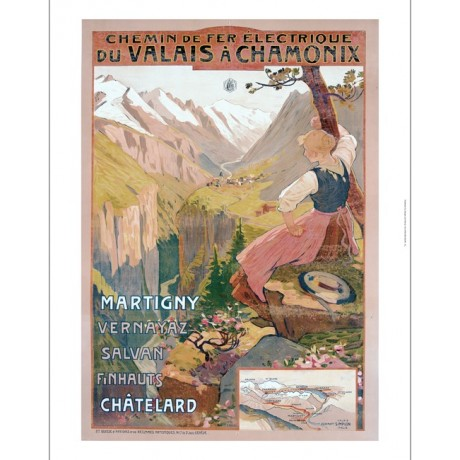 "RAVEL ""Valais A Chamonix"" electric railway CANVAS print of old travel poster"