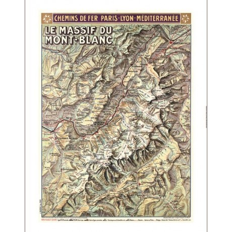 Le Massif du Mont-Blanc map tourism poster ON CANVAS various SIZES available