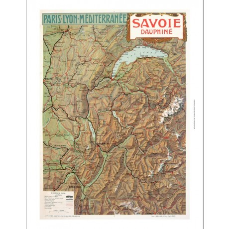 Savoie Dauphine map french tourism poster ON CANVAS various SIZES available, NEW