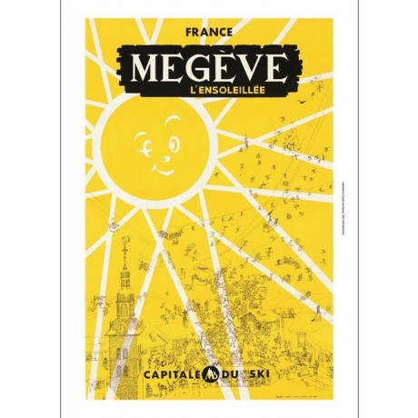 Megeve classic french tourism ski poster ON CANVAS choose SIZE, from 55cm up