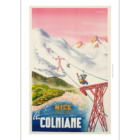 Nice Colmiane skiing french tourism poster ON CANVAS various SIZES available
