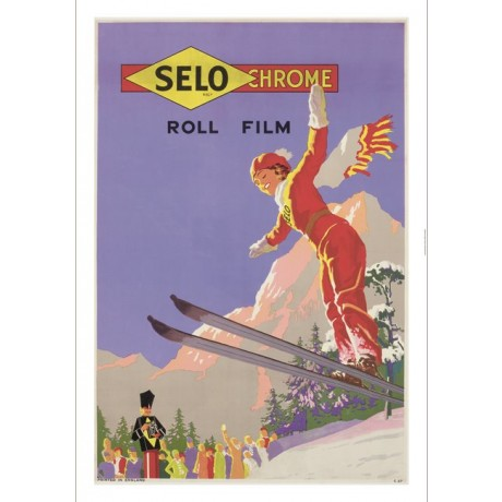 Selo Chrome Film skiing advertising poster ON CANVAS various SIZES available
