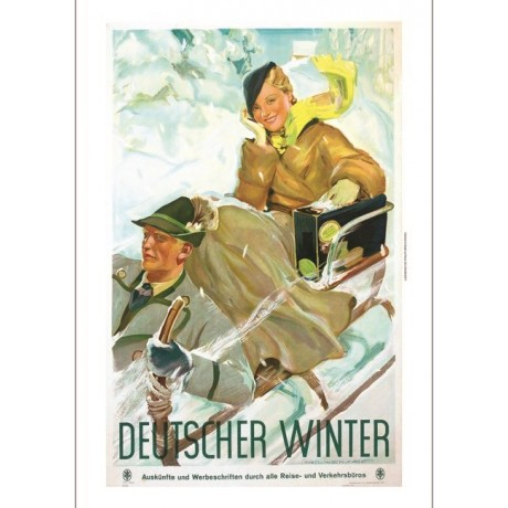 Deutscher Winter snow sled tourism poster ON CANVAS various SIZES available, NEW