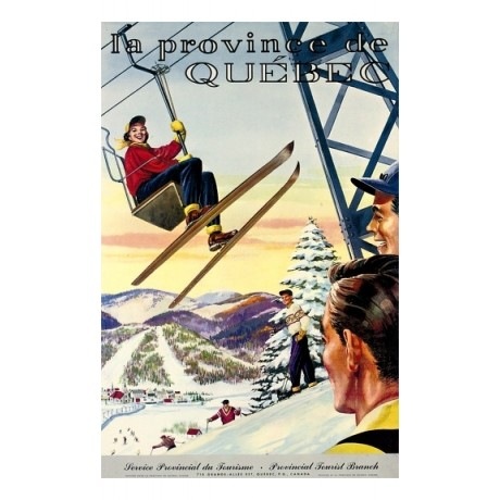 La Province de Quebec skiing chairlift tourism CANVAS various SIZES, BRAND NEW