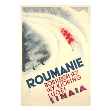 Sinaia Roumanie skiing bobsleigh tourism NEW CANVAS various SIZES available, NEW