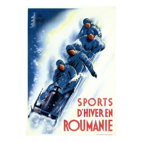 Sports d'Hiver en Roumanie bobsleigh tourism CANVAS various SIZES available, NEW