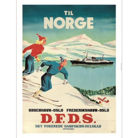 """Til Norge DFDS"" skiing cruise tourism poster ON CANVAS various SIZES available"