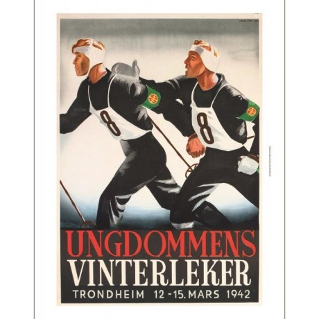 Ungdommens Vinterleker nordic skiing advert ON CANVAS various SIZES, BRAND NEW