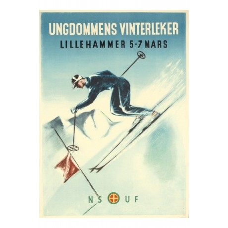 Ungdommens Vinterleker, Lillehammer skiing NEW CANVAS various SIZES, BRAND NEW