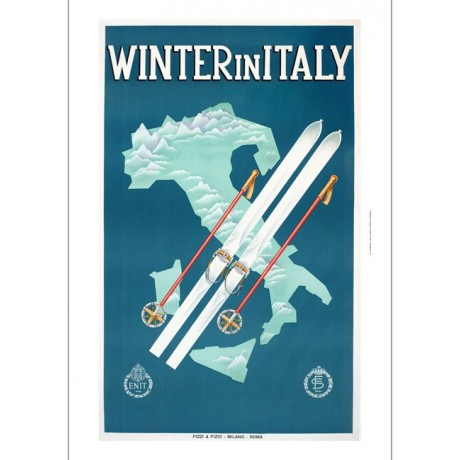 Winter in Italy skiing map tourism poster ON CANVAS various SIZES available, NEW