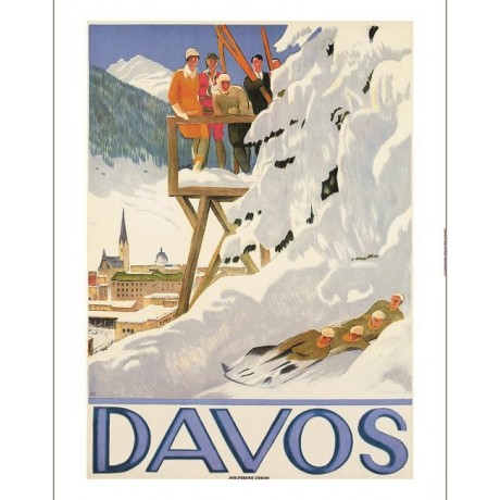 "EMIL CARDINAUX ""Davos"" bobsleigh tourism poster CANVAS various SIZES, BRAND NEW"