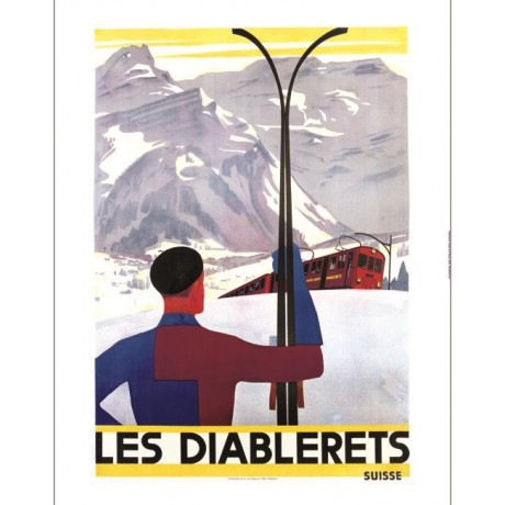 Les Diablerets skiing swiss tourism poster NEW CANVAS various SIZES, BRAND NEW