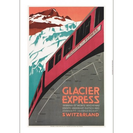 Glacier Express train swiss tourism poster ON CANVAS various SIZES available