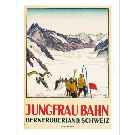 "EMIL CARDINAUX ""Jungfrau Bahn"" skiing tourism CANVAS various SIZES available"