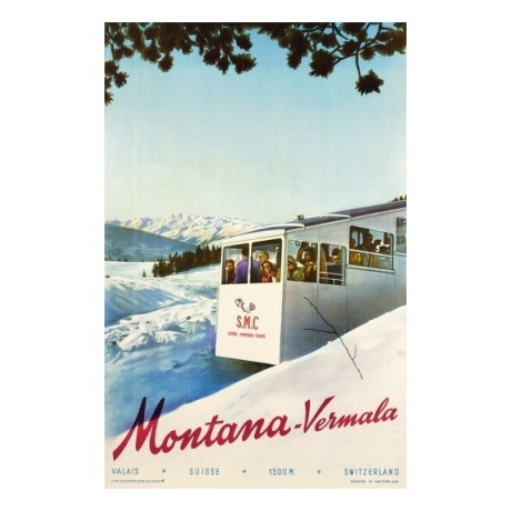 Montana-Vermala swiss alps tourism poster ON CANVAS various SIZES available, NEW