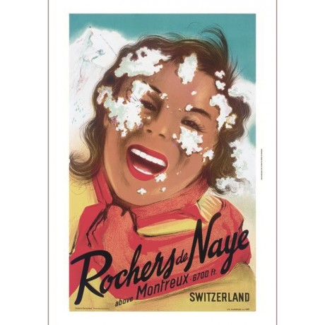 Rochers de Naye woman swiss tourism poster ON CANVAS various SIZES available