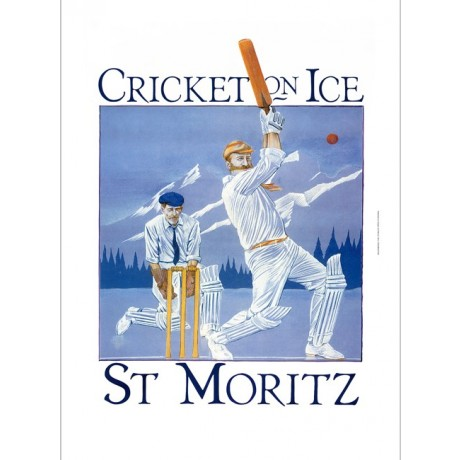 Cricket on Ice - St Moritz tourism poster ON CANVAS various SIZES available, NEW
